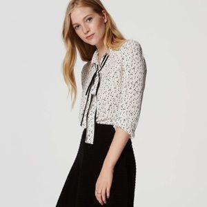 🍒 Cherry Check Print Neck Tie Blouse | LOFT